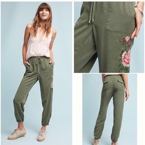 Anthro Embroidered Floral Joggers XL by Postmark